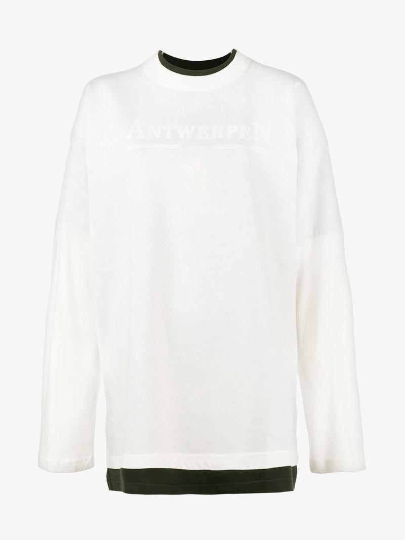 VETEMENTS White Antwerpen Long Sleeve T Shirt, In Collaboration With Antwerpen