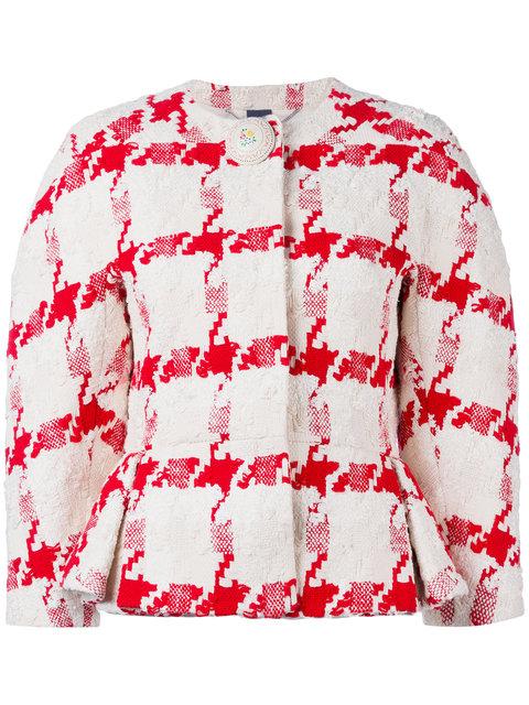 Alexander Mcqueen Silks houndstooth peplum jacket