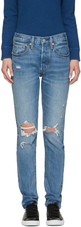 Levi's Cottons Blue 501 Skinny Jeans