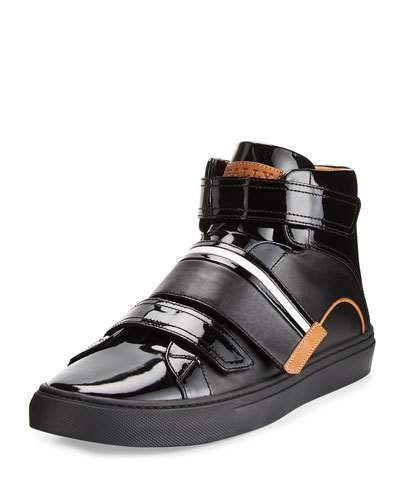 Bally Leathers HERICK LEATHER HIGH-TOP SNEAKER, BLACK