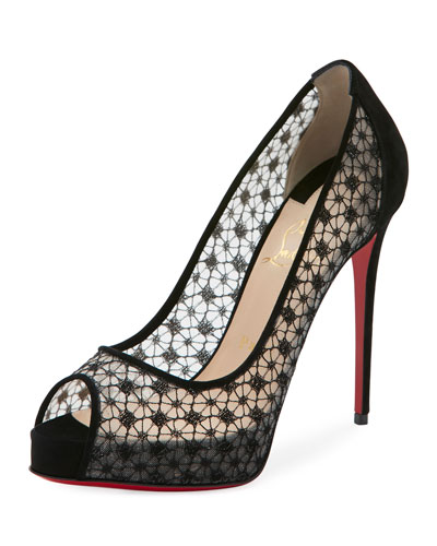 Christian Louboutin Suedes VERY LACE PLATFORM 120MM RED SOLE PUMP, BLACK