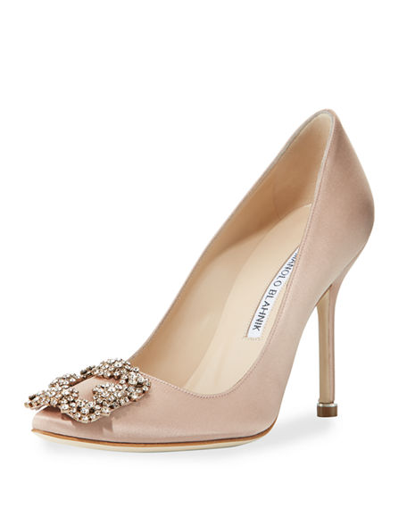 HANGISI CRYSTAL-BUCKLE SATIN 105MM PUMP