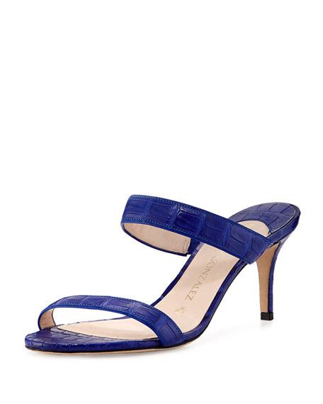 Nancy Gonzalez Mid heels MARIA CROCODILE 70MM SLIDE SANDAL