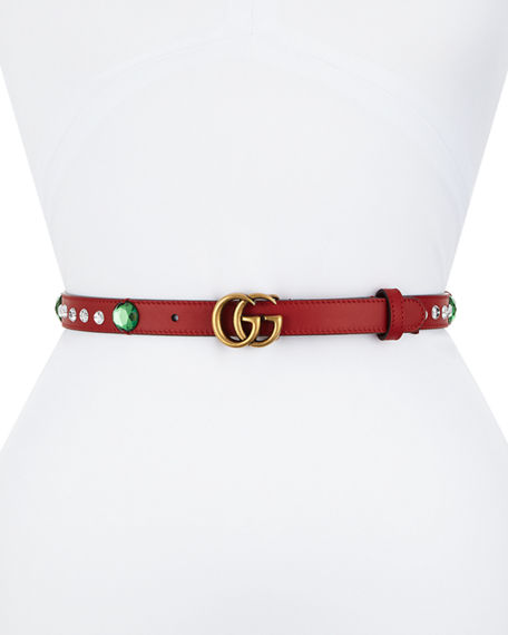 GUCCI Crystal Belt With Double G Buckle