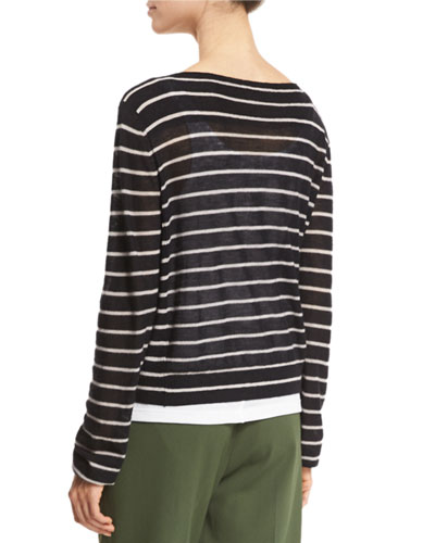 Vince Cashmeres STRIPED CASHMERE BOAT-NECK SWEATER