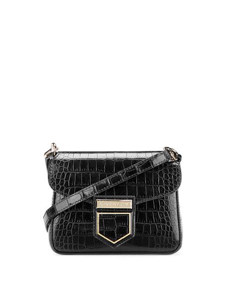 Givenchy Leathers NOBILE MINI CROCODILE-EMBOSSED SHOULDER BAG
