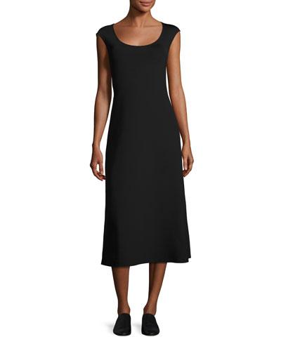The Row Dresses RHODE CAP-SLEEVE MIDI DRESS, BLACK