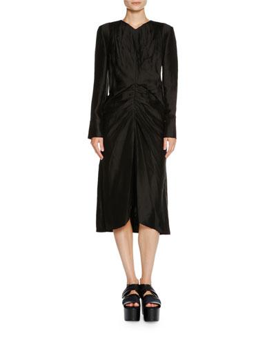 Marni Silks LONG-SLEEVE RUCHED-WAIST DRESS, BLACK
