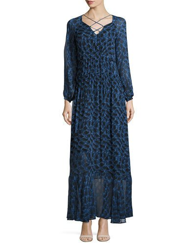 Derek Lam Silks PYTHON-PRINT LONG-SLEEVE MAXI DRESS, BLUE ALLIUM