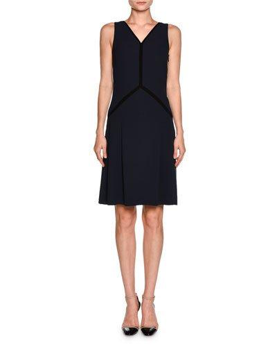 Giorgio Armani Silks CONTRAST-PIPED SLEEVELESS COCKTAIL DRESS, NAVY/BLACK