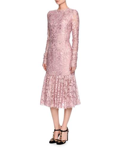 Dolce & Gabbana Silks LONG-SLEEVE LACE FLOUNCE-HEM DRESS, LIGHT PINK