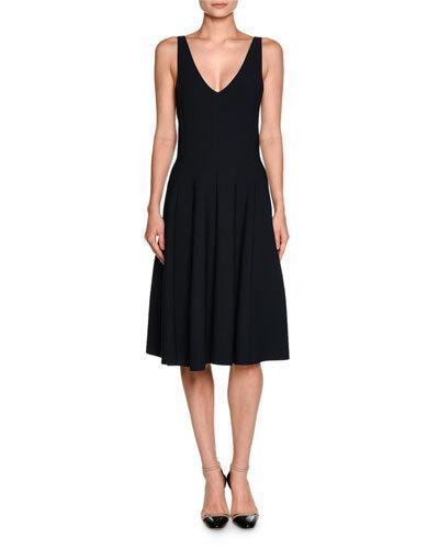 Giorgio Armani Dresses SLEEVELESS V-NECK SEAMED DRESS, NAVY