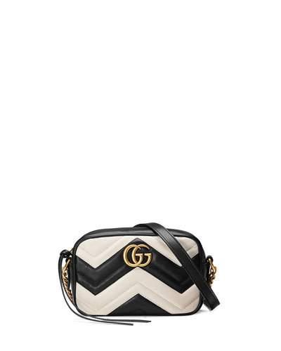 Gucci Leathers GG MARMONT MINI MATELASSÉ CAMERA BAG, BLACK/WHITE