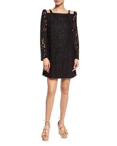 See By Chloé Cottons LONG-SLEEVE LACE MINI DRESS, BLACK