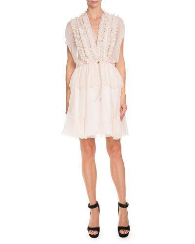 Givenchy Silks RUFFLED CAP-SLEEVE CHIFFON DRESS, SKIN