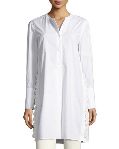 Isabel Marant Cottons CROCHET-SIDE POPLIN TUNIC BLOUSE, WHITE