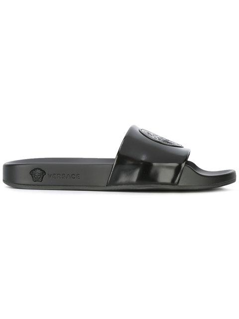 Black Medusa Pool Slide Sandals