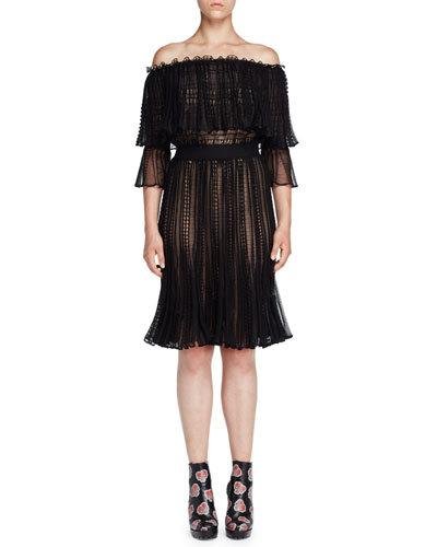Alexander Mcqueen Silks TIERED LACE OFF-THE-SHOULDER DRESS, BLACK/CAMEO