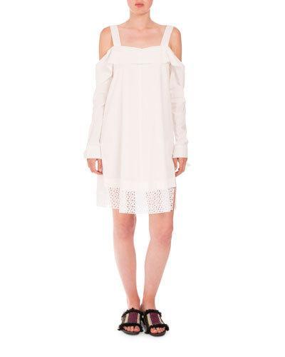 Proenza Schouler Cottons COLD-SHOULDER EYELET-HEM DRESS