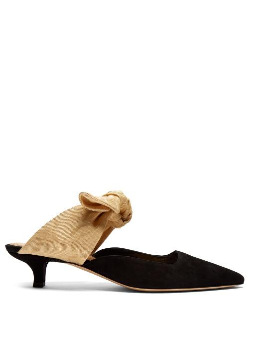 The Row Sandals Coco moire-tie suede pumps