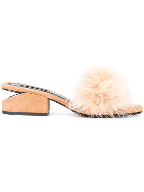 ALEXANDER WANG Lou Suede And Feather Slip-On Sandals
