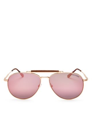 TOM FORD Mirrored Aviator Sunglasses, 62Mm in Rose Sand/Pink Mirror