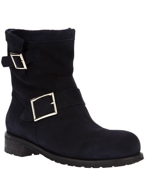 YOUTH NAVY SUEDE BIKER BOOTS WITH RABBIT FUR LINING