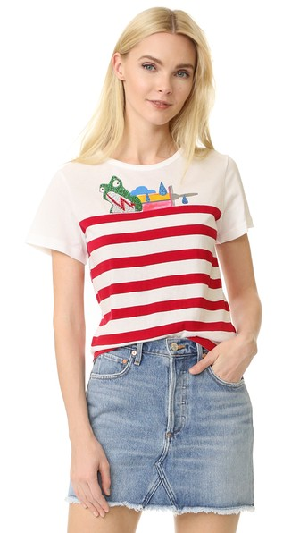 PRINTED COTTON T-SHIRT WITH EMBELLISHMENTS