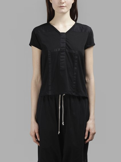 RICK OWENS DRK SHDW BLACK DETAIL SMALL LEVEL TEE