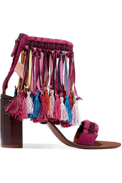Tasseled suede sandals