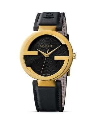 Interlocking Yellow Gold PVD Black Leather Watch, 42mm