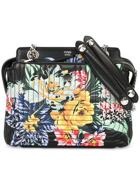 DOTCOM CLICK SMALL FLORAL QUILTED CHAIN SHOULDER BAG, BLACK/MULTI, BLACK MULTI