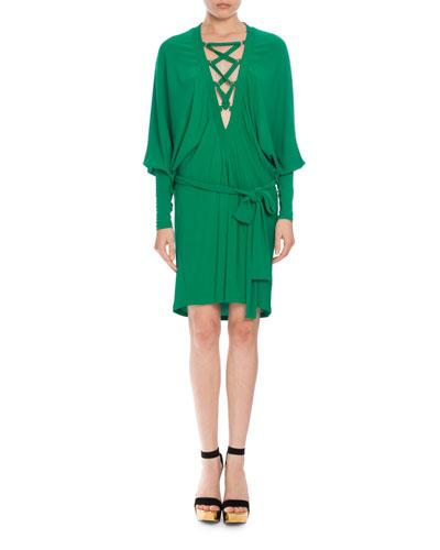 Balmain Dresses LACE-UP BELTED BATWING DRESS, EMERALD GREEN