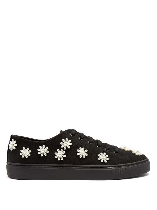 FLORAL-EMBELLISHED CANVAS LOW-TOP TRAINERS