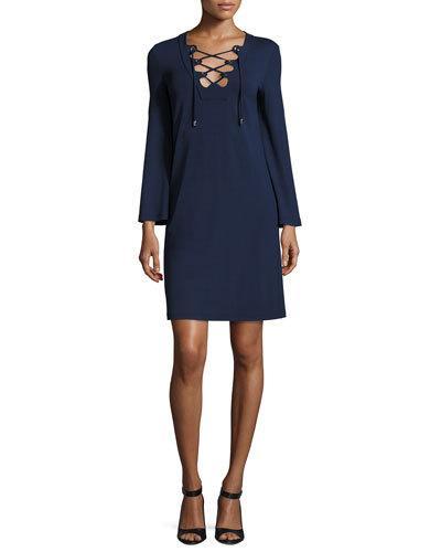 Michael Kors Dresses GROMMET LACE-UP LONG-SLEEVE TUNIC DRESS, MARITIME