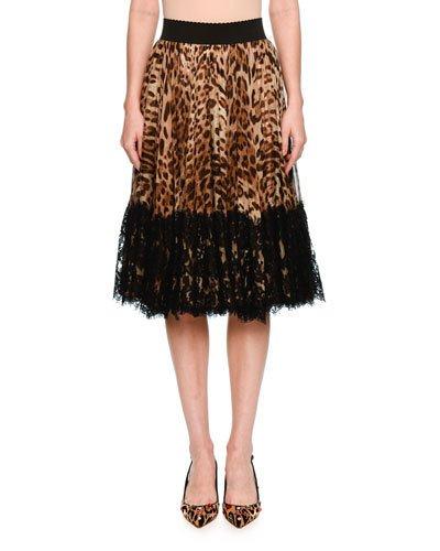 Dolce & Gabbana Silks LACE-HEM PLEATED LEOPARD-PRINT SKIRT, BROWN/BLACK