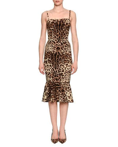 Dolce & Gabbana Silks RUCHED LEOPARD-PRINT SATIN COCKTAIL DRESS