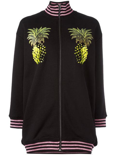 pineapple print bomber jacket