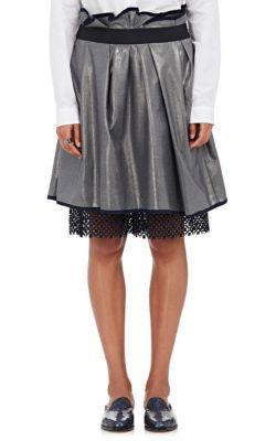 Peekaboo-Hem Pleated Skirt