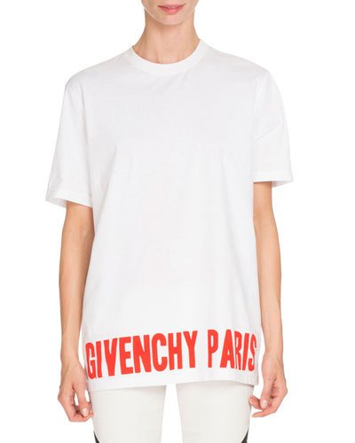 Givenchy Cottons GIVENCHY PARIS GRAPHIC TEE, WHITE/RED