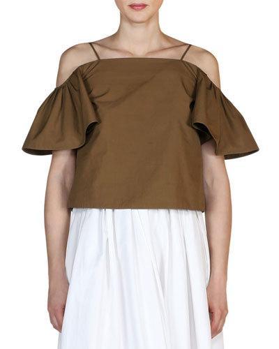 Fendi Cottons COLD-SHOULDER FLUTTER-SLEEVE TOP, OLIVE