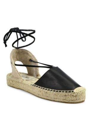 Soludos Leathers Leather Lace-Up Espadrilles