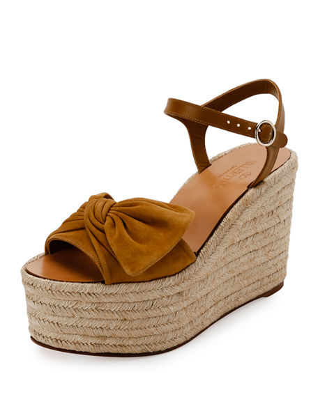Valentino Suedes TROPICAL BOW ESPADRILLE WEDGE SANDAL, TAN/CAMEL
