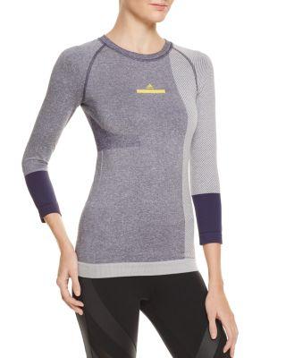ADIDAS BY STELLA MCCARTNEY Yoga Seamless 3/4-Sleeve Top, Noble Ink/White