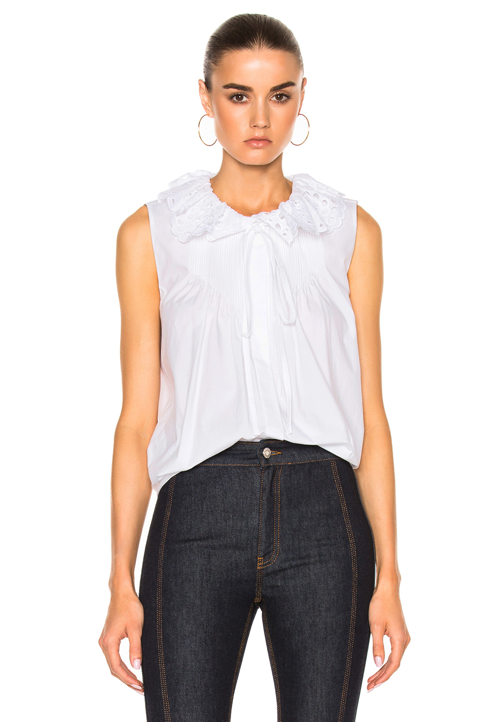 Chloé Cottons CHLOE CRUSHED COTTON POPELINE SLEEVELESS TOP IN WHITE