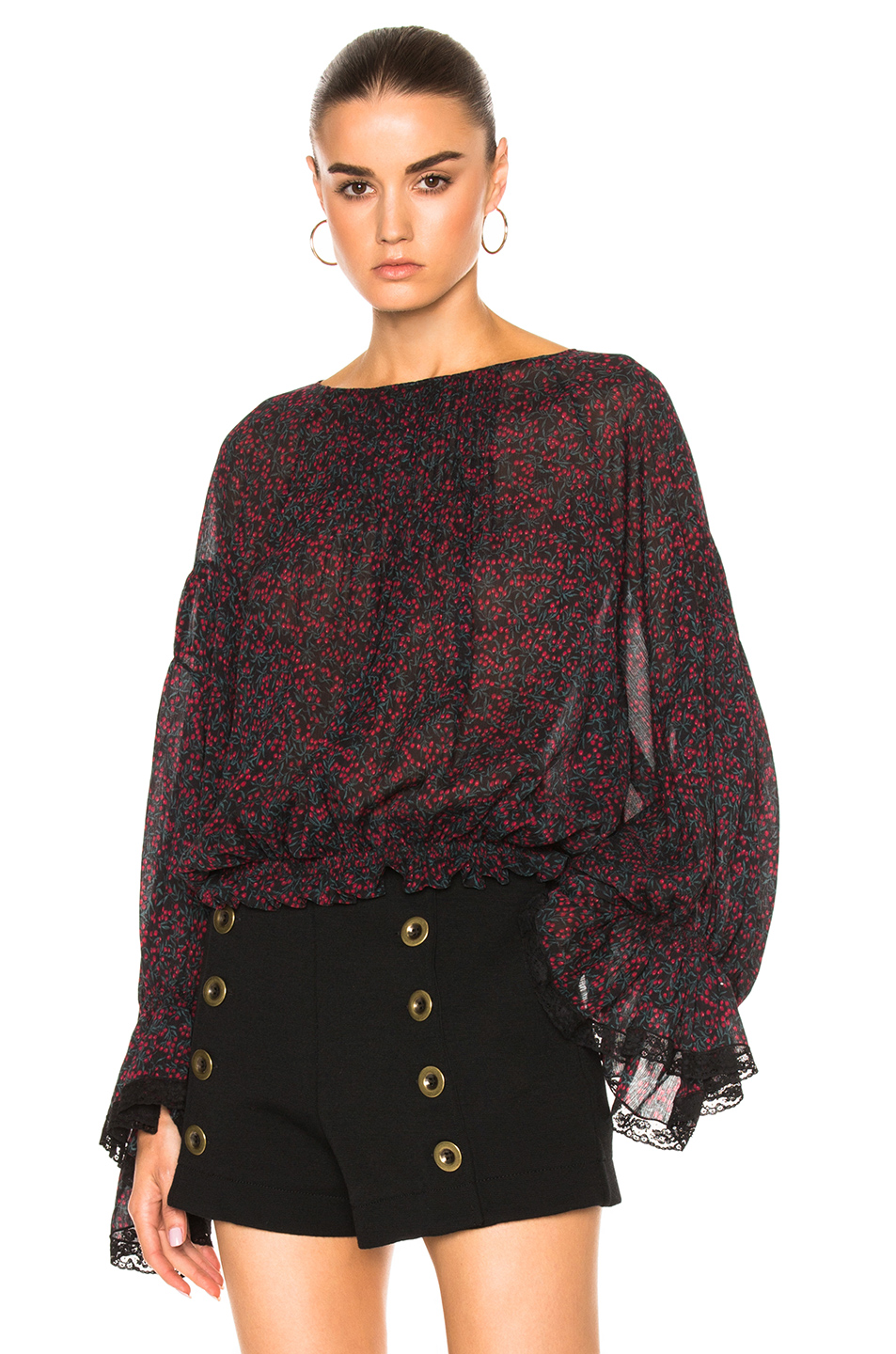 Chloé Cottons CHERRY PRINT ON CREPON BLOUSE IN FLORAL, GREEN, RED.