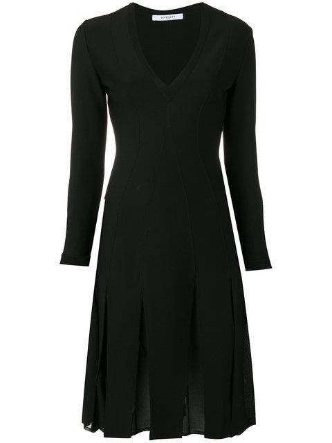 Givenchy Dresses GIVENCHY PLEATED SKIRT V-NECK DRESS - BLACK