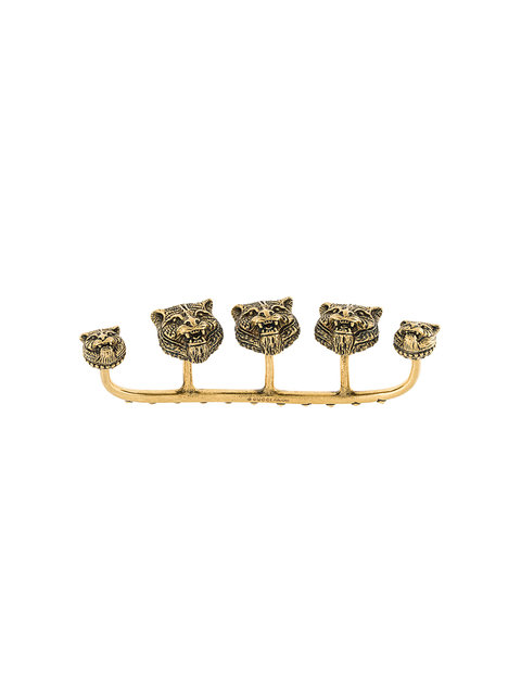 MULTI-FINGER RING WITH FELINE HEADS