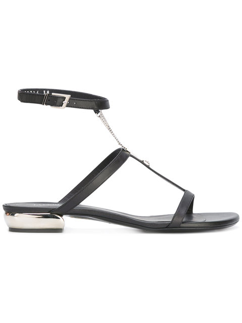 SHOES BLACK FLAT SANDAL WITH CHAIN - BLACK