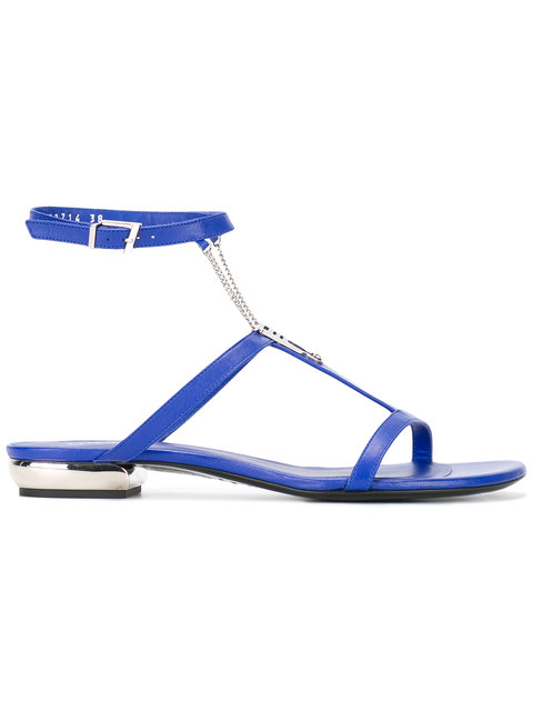 SHOES BLUE FLAT SANDAL WITH CHAIN